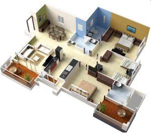 Denah rumah 3 kamar ukuran 7×9