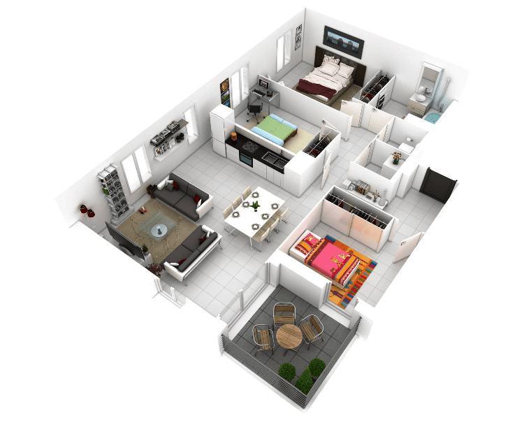Kamar tidur utama dan 2 kamar tidur anak
